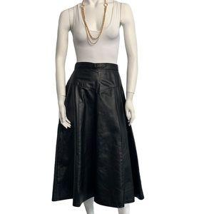 Vintage leather midi circle skirt